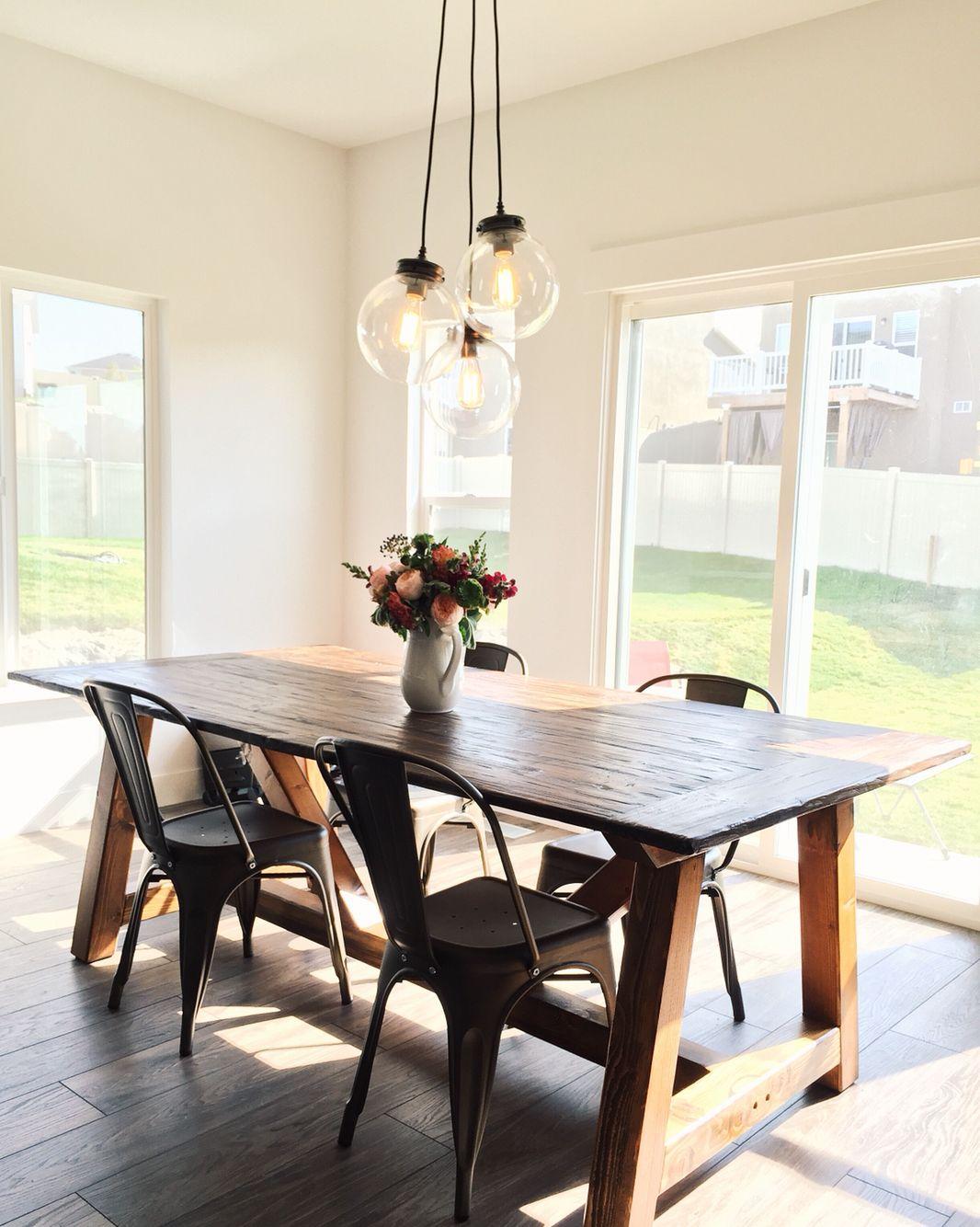 Pottery barn Calhoun multi pendant light   farmhouse table ...