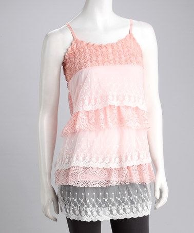 Take a look at this Peach Crocheted Tunic - | @ zulily.com