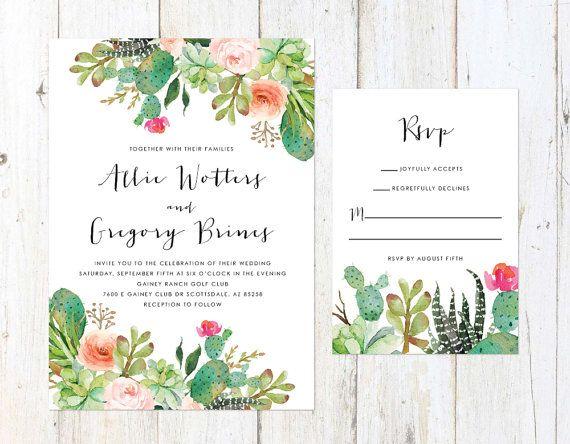 Wedding Invitations Az: Desert Wedding Invitation, Cactus And Succulent Invitation