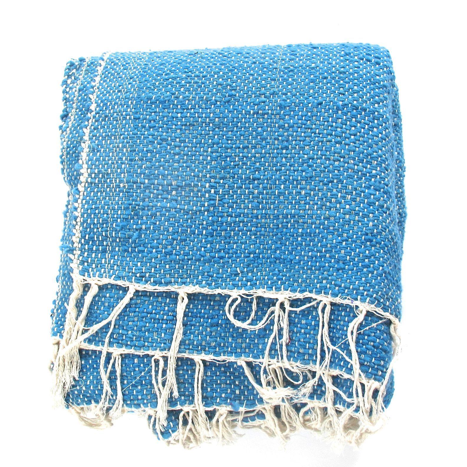 Moroccan Turquoise Wool Blanket