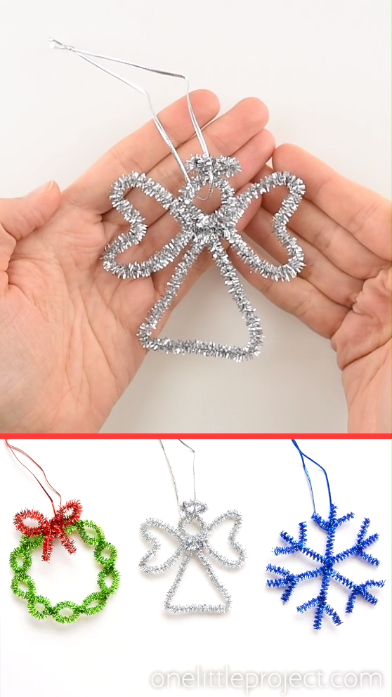 These easy angel pipe cleaner ornaments are ADORABLE and they're really simple to make. You only need 2 pipe cleaners! This is such an easy Christmas craft that you can make in less than 5 minutes using dollar store supplies. Such a fun Christmas craft for kids and a great way to make homemade Christmas ornaments! Be sure to check out our other 5 tutorials in this series for more pipe cleaner ornaments that go along with this cute little angel!