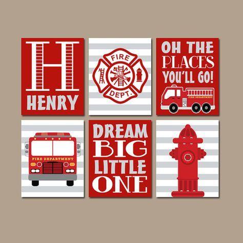 Fire Truck Wall Art Canvas Or Prints Baby Boy Nursery Art Navy Red Big Boy Bedroom Decor Fireman Hydr Fire Truck Nursery Fire Truck Bedroom Fire Truck Room