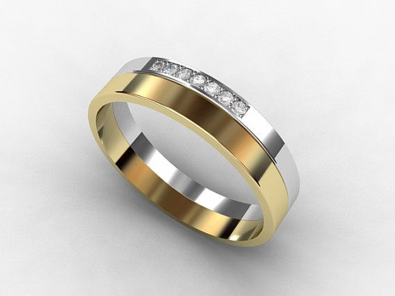 Men S Two Tone Diamond Wedding Band Made From White And Yellow Gold By Torkkelijewellery 1500 00