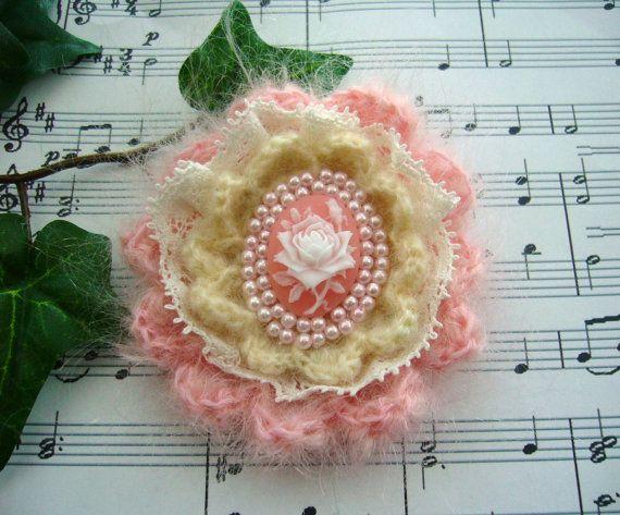 Victorian Pink Rose Cameo Brooch Pin Hand by CraftsbySigita,  www.etsy.com/shop/CraftsbySigita