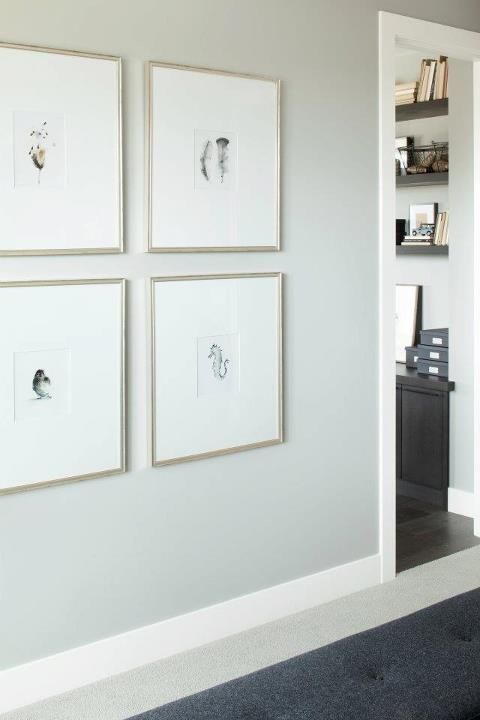 Entrances foyers hall art gallery silver frames hall with pale gray walls paint color