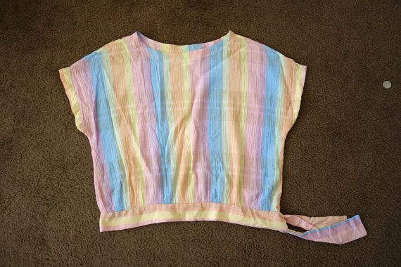 rainbow tie up blouse shirt top