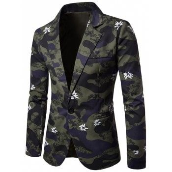 Lapel One Button Camouflage Floral Blazer