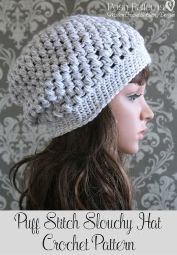 Puff Stitch Slouchy Hat Crochet Pattern | Pinterest