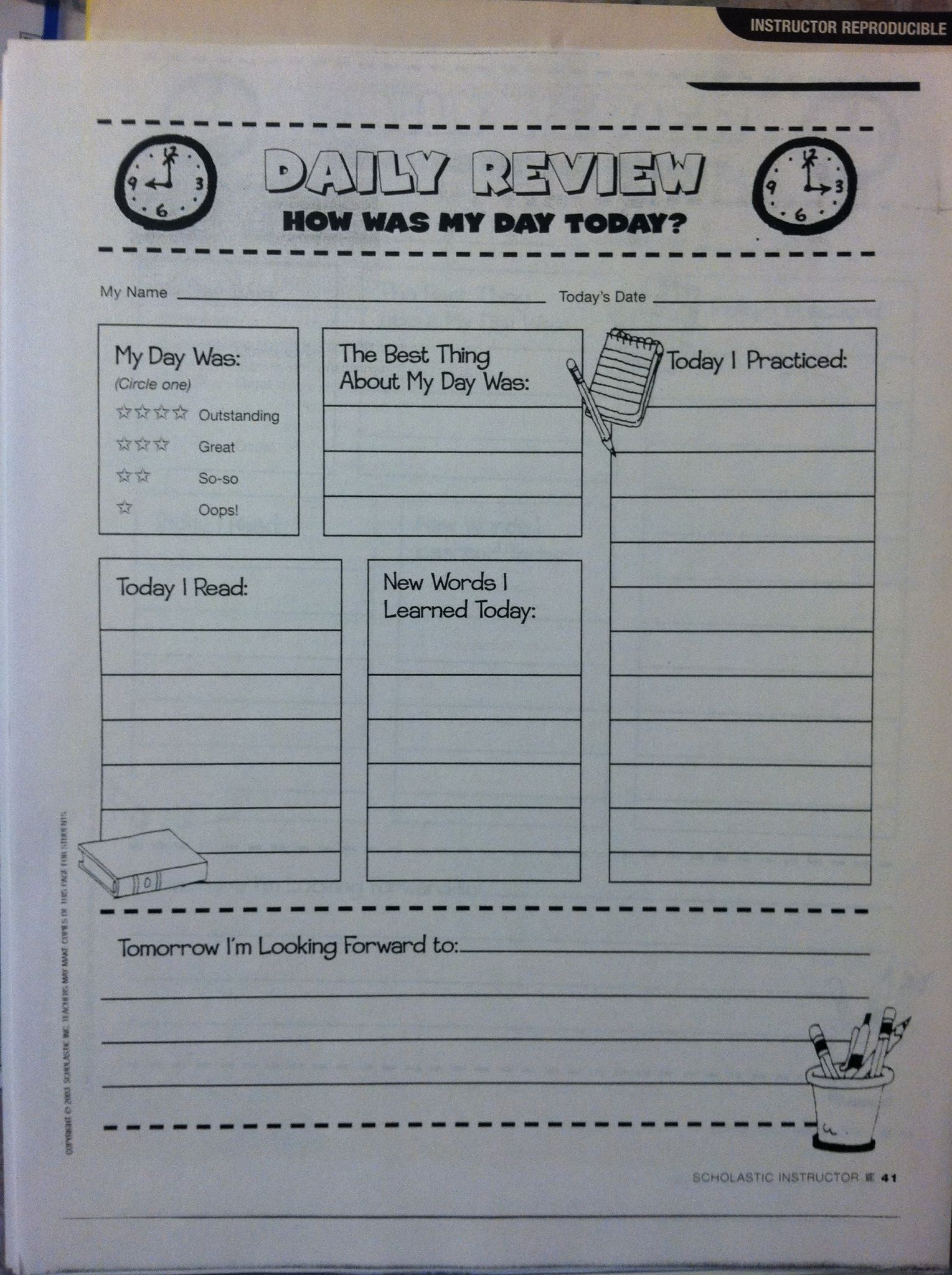 Homeschool Weekly Schedule Template