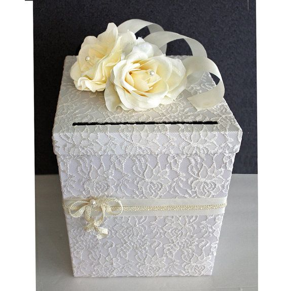 Wedding Card Box Ivory Lace White Pearl Single Tier Wedding Card Hold