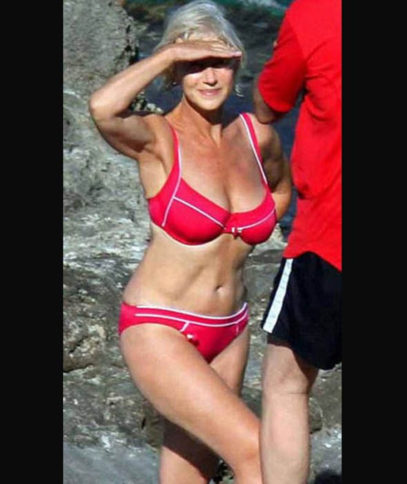 Helen Mirren rocking a bikini aged 79. | Helen mirren bikini, Celebrity swimsuits, Dame helen mirren