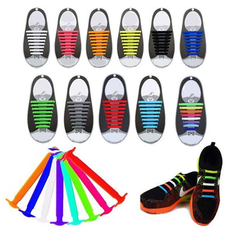 16Pcs No Tie Shoelace Elastic Silicone Shoe Lace Running Fashion Unisex Athletic