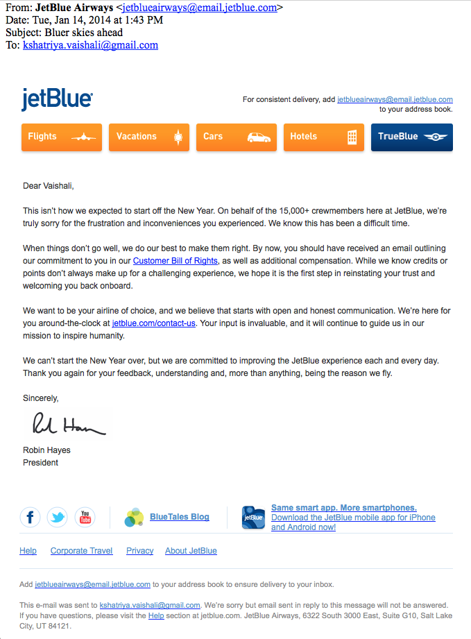 jet blue customer service apology mail