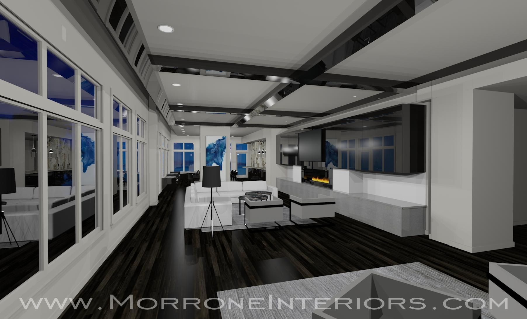 Downtown Orlando Penthouse   Living Room   3D Drawing