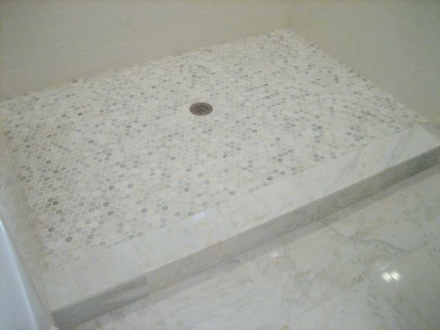 White Subway Tile Carrera Floor Tiles And Hexagon Shower Lovely