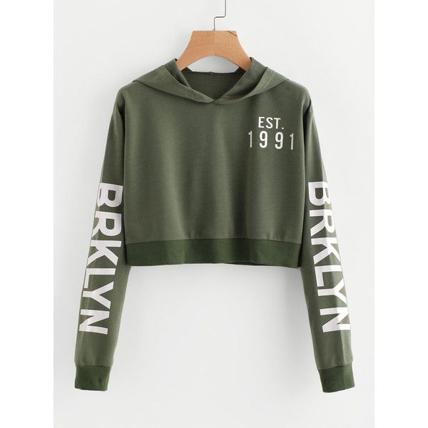 9b8ce14f95afc SheIn(sheinside) Letter Print Crop Hoodie (51 AED) ❤ liked on Polyvore  featuring tops