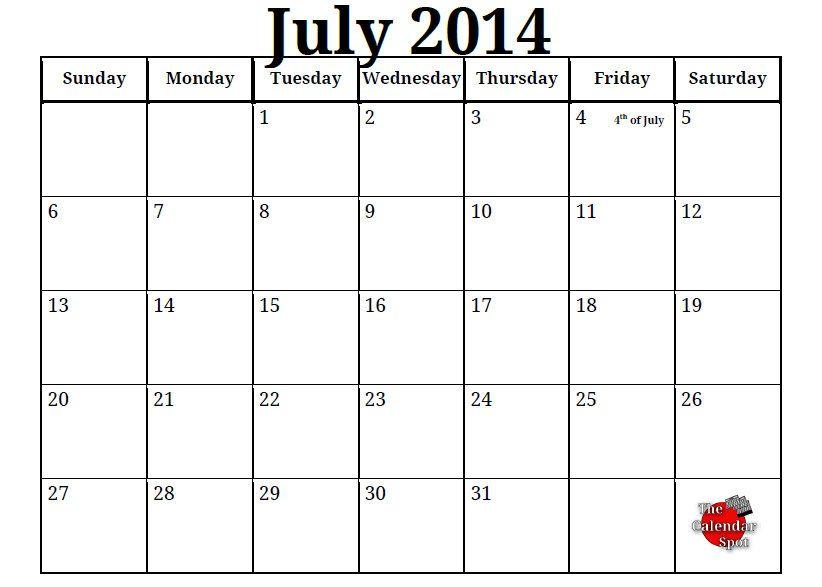 2014 Calendar Printable Free Printable Blank PDF July 2014 - printable blank calendar