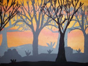 I am doing this project next fall!  Kids can never have enough practice with trees!  Plus this involves mixing shades of gray for the background and midground.