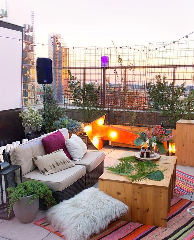 Diy Party Rooftop Girl S Movie Night I Spy Diy Rooftop Decor Rooftop Party Apartment Rooftop