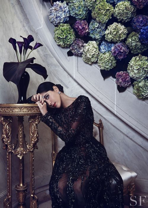 Jewelry designer Noor Fares in ELIE SAAB Haute Couture Autumn