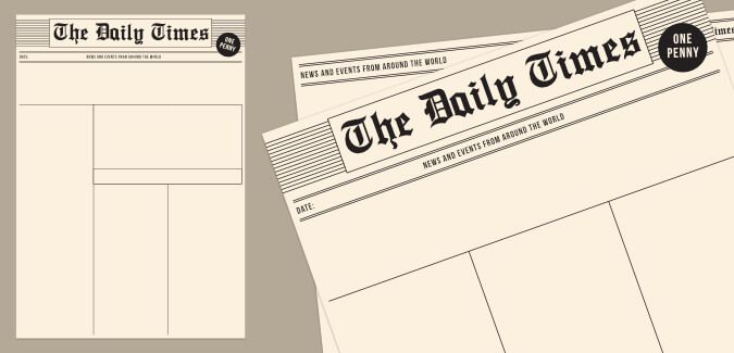 An Old Newspaper Template In Various Layouts For Both Front And