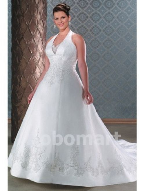 Empire V-neck Floor-length Satin Plus Size Wedding Dress - US$309.00