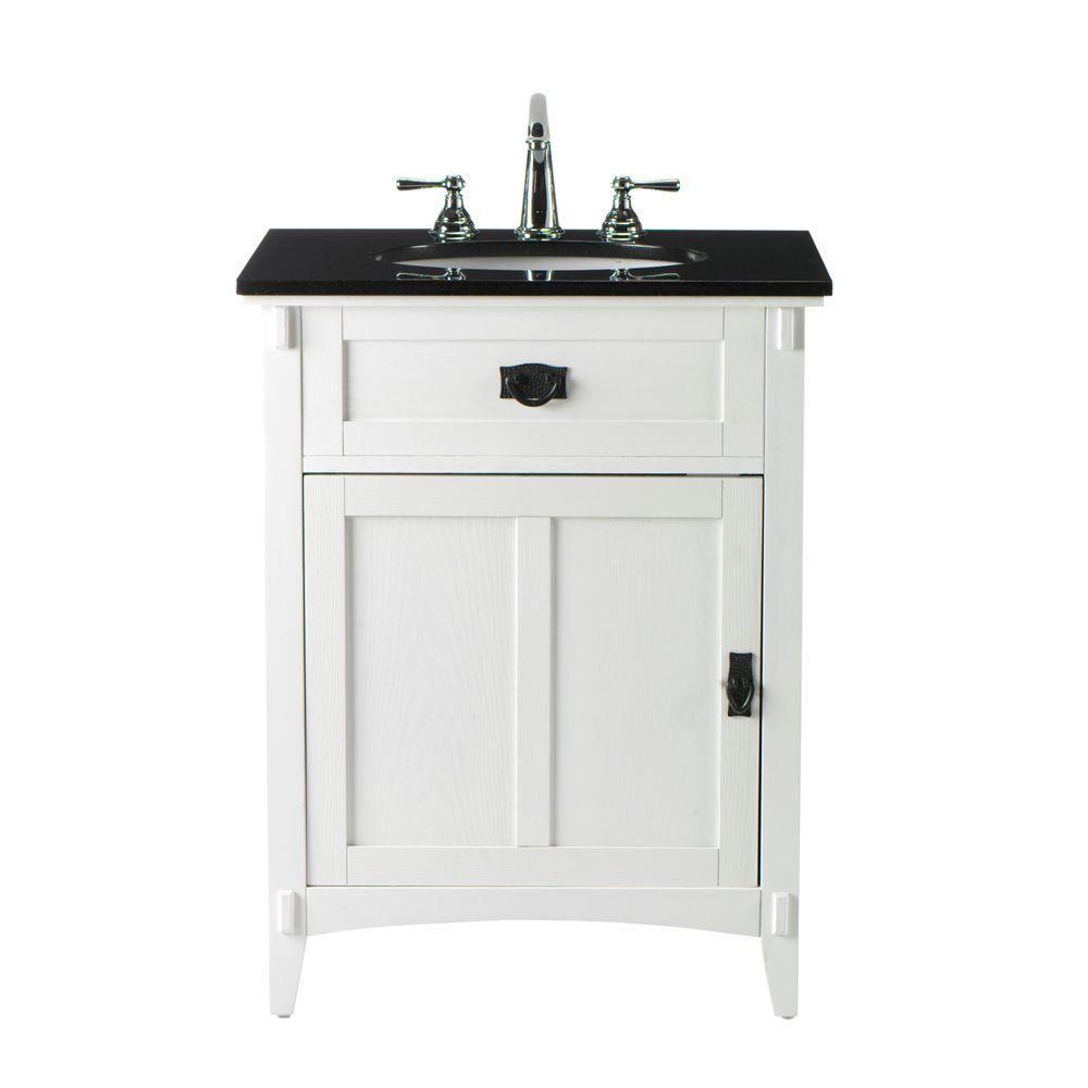 Home Decorators Collection Artisan 26 In W X 34 In H Bath Vanity In White With Granite Vanity Top In Black 0426200410 The Home Depot Granite Vanity Tops Vanity Bath Vanities 34 inch wide bathroom vanity