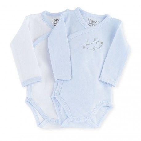 9998ff1c93038 Body Bob  body  bebe  niño  bob  perrito  blanco  azul  kinousses. Lot de 2  bodies croisés bébé garçon
