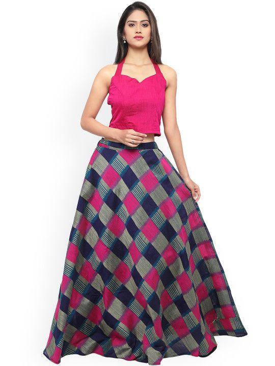 c404d0a53c1 Inddus Pink   Blue Semi-Stitched Lehenga Choli -