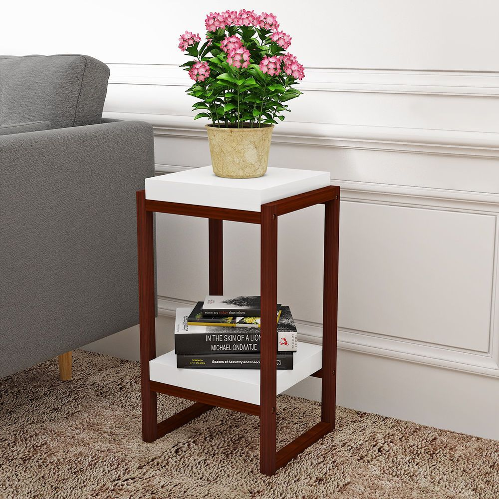 The Simple Yet Stylish Side Table With 2 Tiers Will Be A Great Decoration In Your Room Wood Grain Pattern And W Stylish Side Table Side Table Small Side Table
