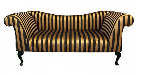 Designer Black And Gold Stripe Chaise Longue Sofa By HomeCrush