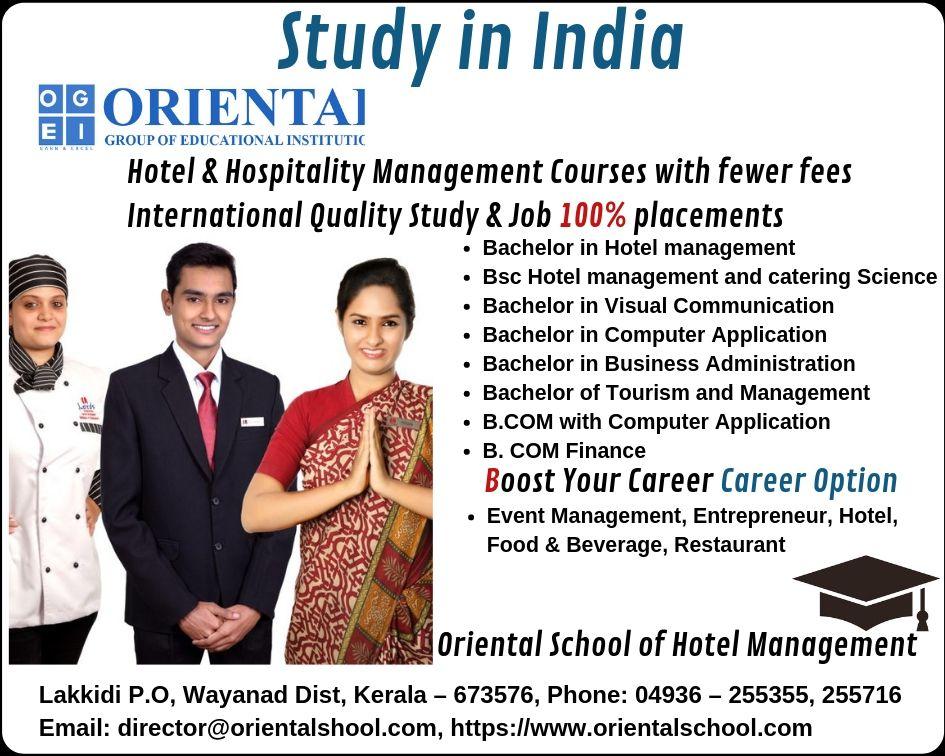Hospitality Management Courses Kerala Hotel Management Hospitality Management Management