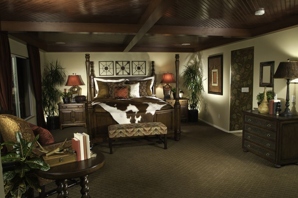 design with dark wood ceiling four poster wood bed and dark brown