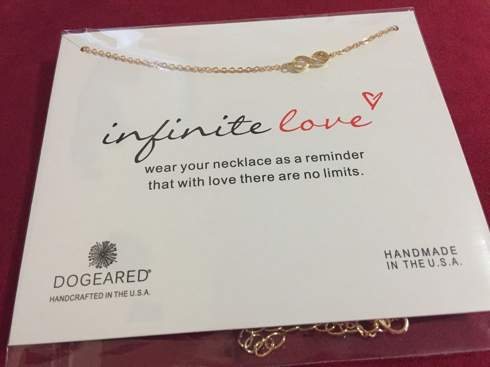 DOGEARED Infinite Love Necklace Gold Dipped With Card #Dogeared