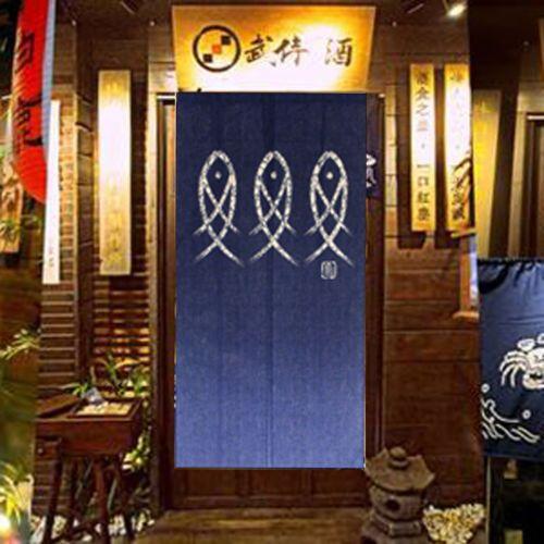 AU Blue Fish Printed Japanese Noren Doorway Curtain Kitchen Room Door  Curtains