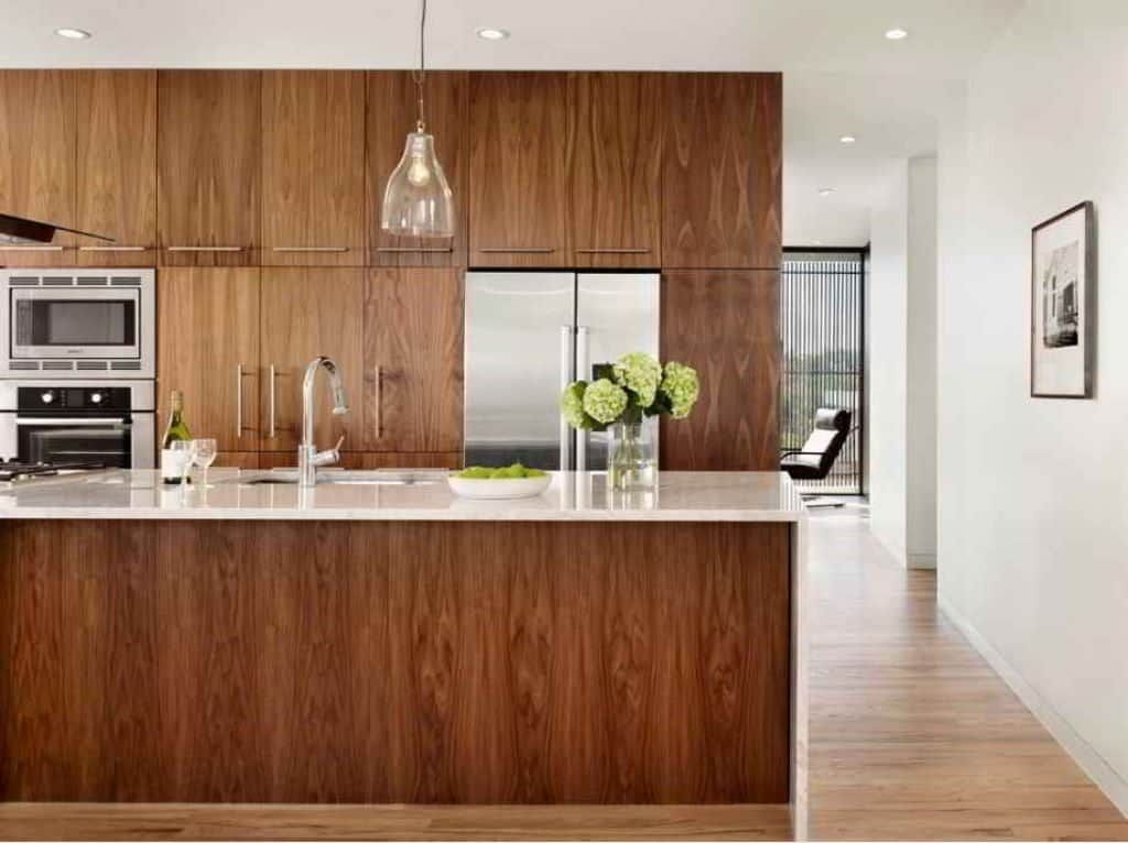 Contemporary Walnut Cabinets Kitchen