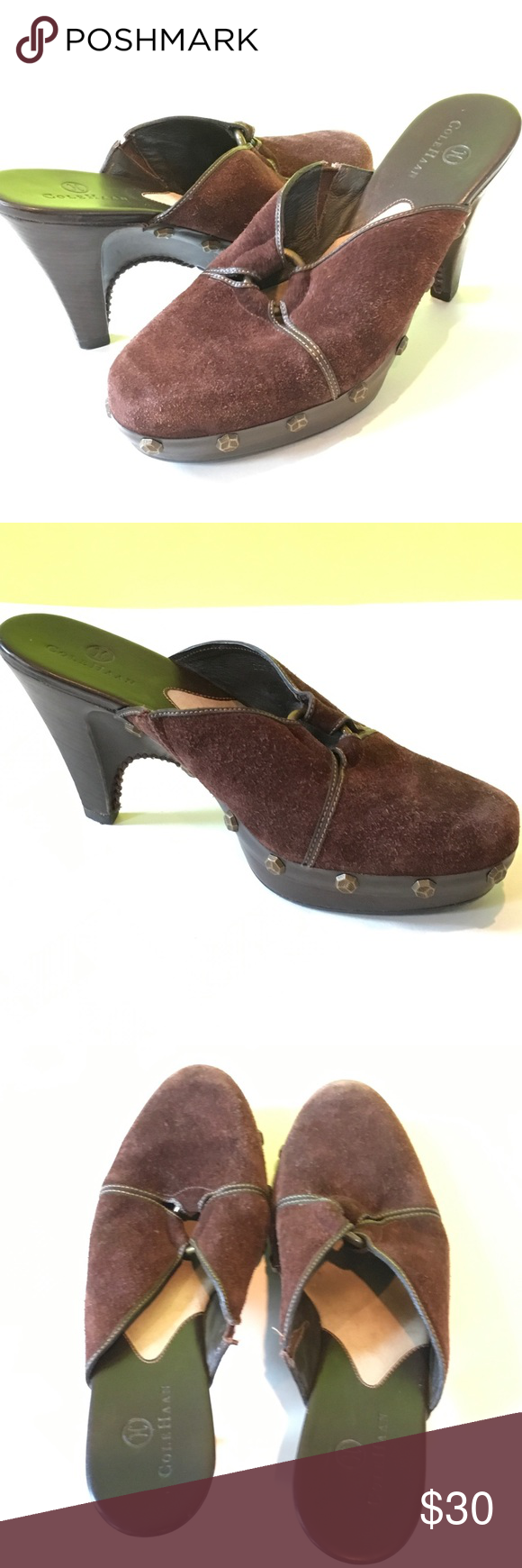 """Cole Haan Brown Suede Studded Mules Brown Suede clog/Mules with copper stud accents and Center ring. Heel is about 3 3/4"""" and wooden platform is about 3/4"""". Size is 6B. Toes are a bit worn, mild signs of wear otherwise. Cole Haan Shoes Mules & Clogs"""