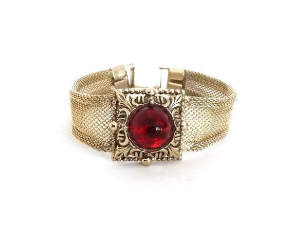 Vintage Gold Mesh Bracelet Red Faux Ruby Center Cabachon Tightly Woven Mesh Victorian Style Jewelry