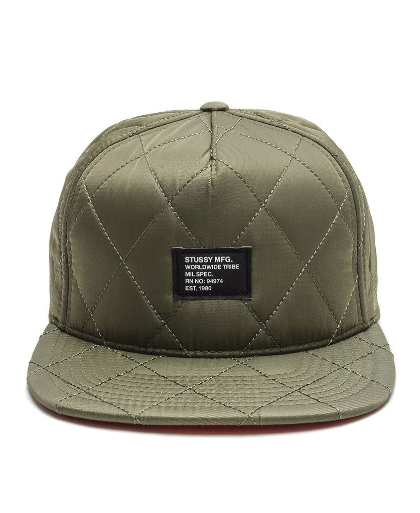 b8bb26432c6 Stussy - Quilted Foam Snapback Cap (Olive)