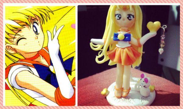 Sailor Vênus em biscuit com suporte para deixá-la em pé. Tamanho da peça: +-8cm