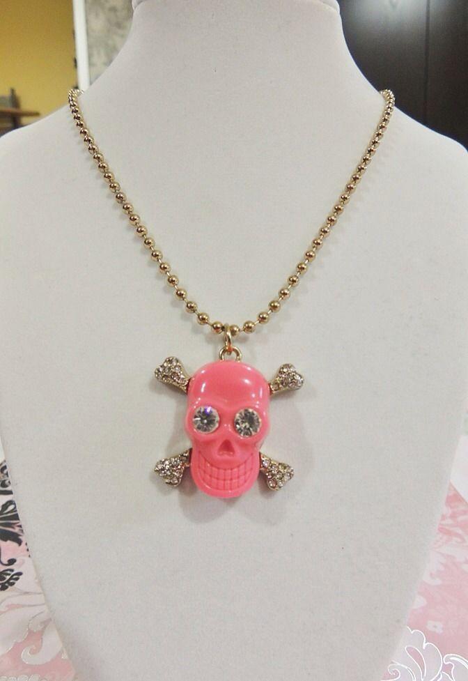Betsey Johnson Vintage Pink Skull Necklace
