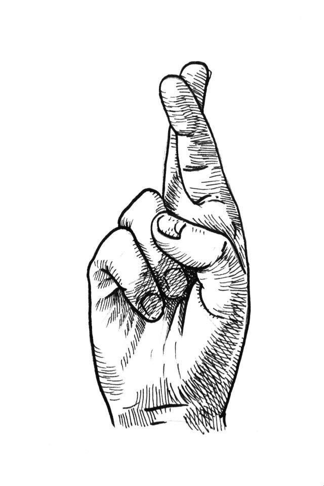 Картинки скрещенные пальцы для срисовки