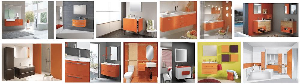 Salle de bain avec meuble de salle de bain orange | Guide couleur ...