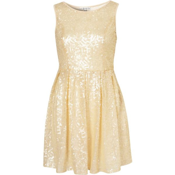 **Sequin Skater Dress by Rare ($48) ❤ liked on Polyvore
