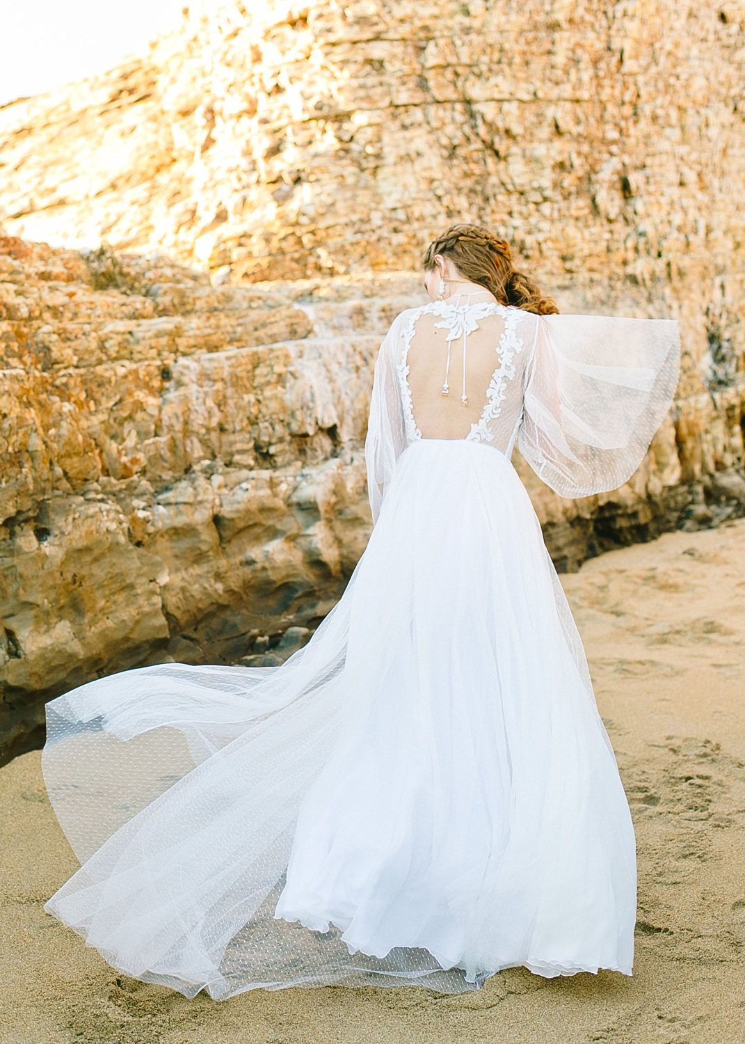 Boho wedding dress with sweetheart neckline dotted tulle flared
