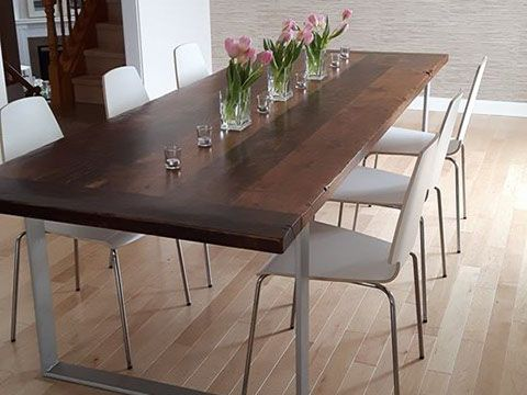 Custom Reclaimed Live Edge Barn Wood Steel Metal Flat Square X Table Furniture Kitchener Toronto Guelph Hamilton