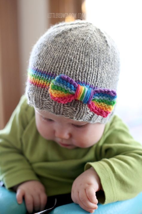 Rainbow Baby Hat Knitting Pattern Kinder Pinterest Rainbow