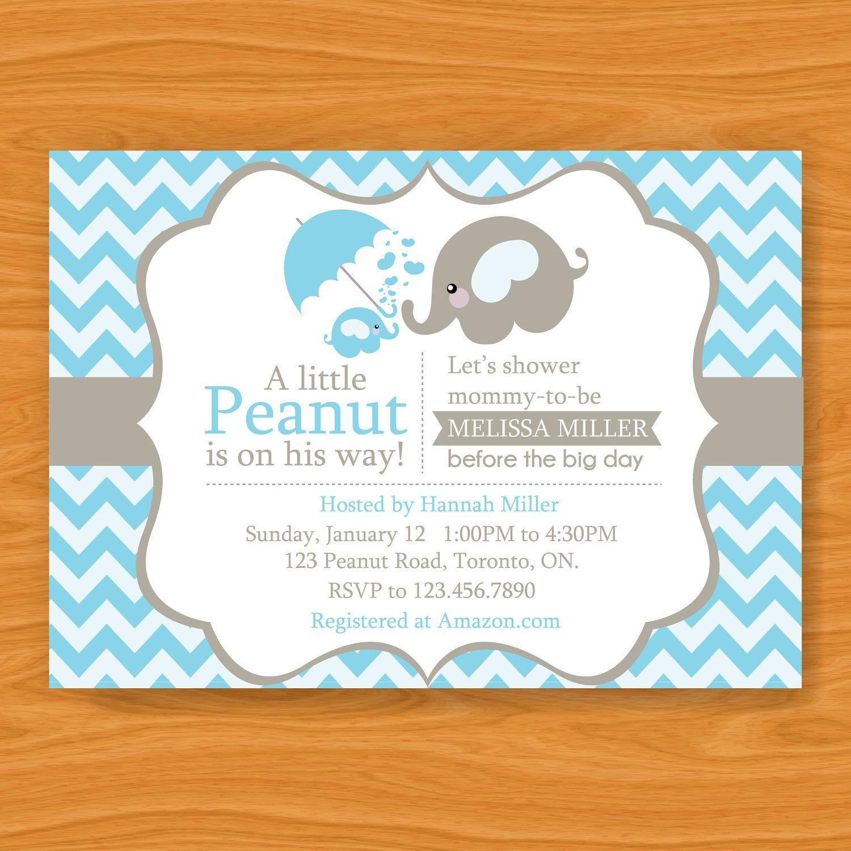 Printable Baby Shower Invitation A Little Peanut Elephant