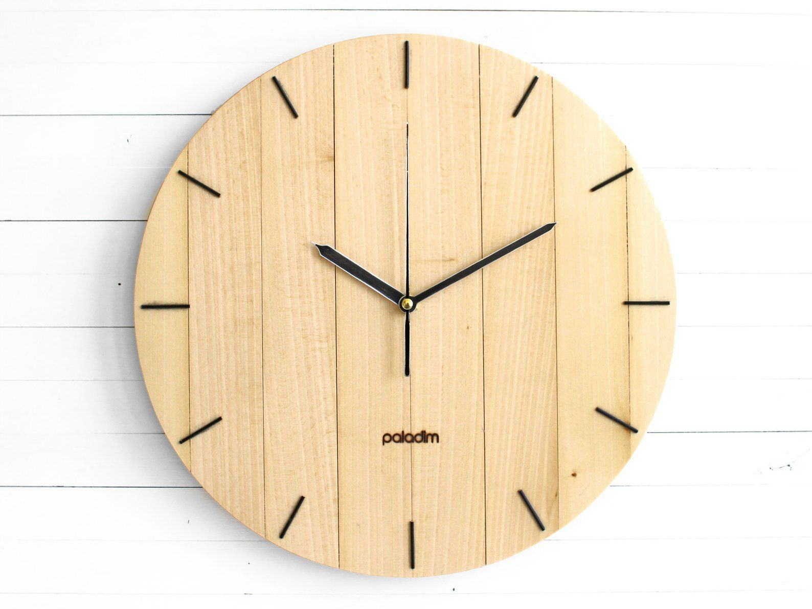 Modern Wooden Round Wall Clock 12 The Oval Etsy Wall Clock Wooden Clock Round Wall Clocks
