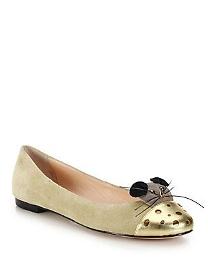 Kate Spade New York Walk Metallic Leather-Paneled Mouse Suede Flats